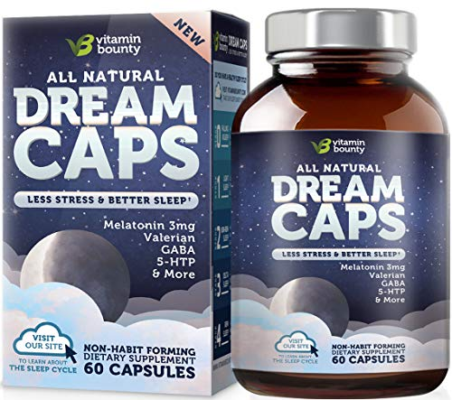 Vitamin Bounty Natural Sleep Aid - with 7 Scientifically Proven Ingredients Including Melatonin, Chamomile, Lemon Balm & Valerian, 60 Count (Best Over The Counter Sleep)