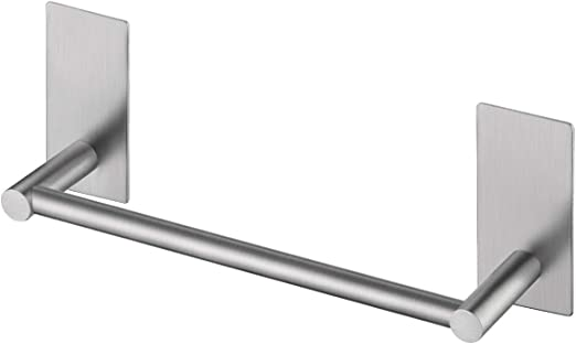Amazon Com Kes Self Adhesive Towel Bar 9 Inch Small Bathroom Kitchen Hand Towel Hanger Sticky Stick On Shower Bar Brushed Sus 304 Stainless Steel A7000s23 2 Home Kitchen