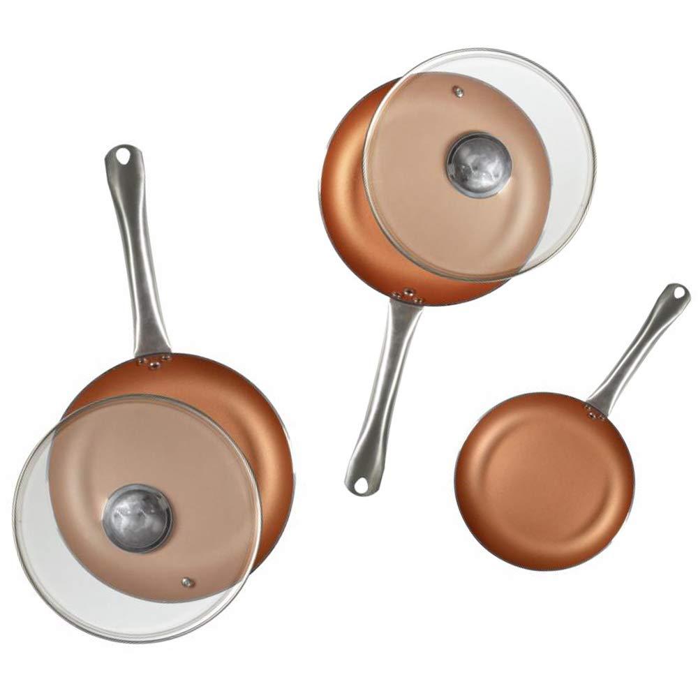 San Ignacio Q2995 Optimum Cooper-Set 5 Piezas: 3 sartenes 2 Tapas-Efecto cobre-20/24/28 cms. Antiadherente sin pfoa-inducción y Gas, Aluminio prensado: ...