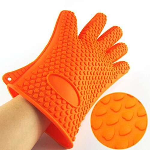Yy Goods Silicone Kitchen Gloves  Heat Resistant Oven Mitts For Bbq  Grilling  Baking  Cooking  Non Slip Best Protection Ever  Orange
