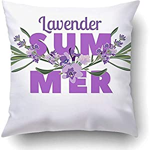 Throw Pillow Covers Purple Summer Floral Beautiful Lavender Flowers On White Multicoloured 18 x 18 Inch Square Hidden Zipper Polyester Home Sofa Cushion Decorative Pillowcase 58