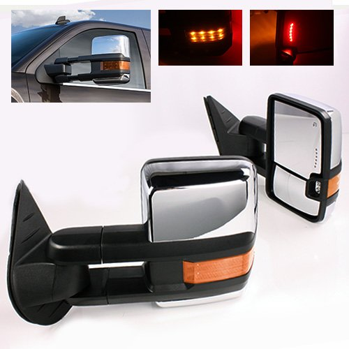 ModifyStreet Power Side Towing Mirrors with Turn Signal & Heated Defrost & Clearance Light for 99-02 Chevy Silverado Tahoe Yukon/XL or 02 Chevy Avalanche or 00-02 GMC Sierra, Chevy Suburban - Chrome