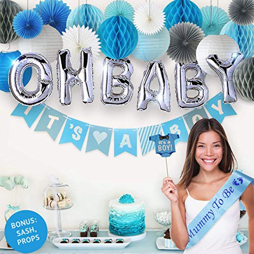 PGNART Baby Shower Decorations for Boy Kit 58 PIECES | Its A BOY Banner | OH BABY Balloon | Mom To Be Sash | Photo Props | Garland Bunting Banner | Paper Lanterns | Honeycomb Balls | Tissue Paper Fan