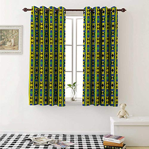 Funky Borders - Flyerer Kente Pattern Customized Curtains Geometric Vertical Borders Funky Colorful Native Kenya Design with Triangles Curtains for Kitchen Windows W63 x L45 Inch Multicolor