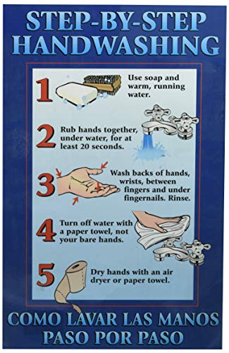 "DayMark Laminated Workplace Safety and Educational Poster, Step-By-Step Hand Washing, 11"" x 17"""