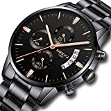 Mens Watches Stainless Steel Quartz Chronograph Waterproof Watch Calendar Date Window Fashion Casual