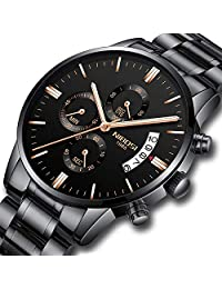 Mens Watches Stainless Steel Quartz Chronograph Waterproof Watch Calendar Date Window Fashion Casual Dress Wristwatch with 3 Dials Display