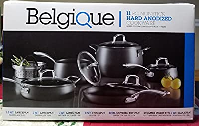 Belgique 11 PC NONSTICK HARD ANODIZED COOKWARE GREY