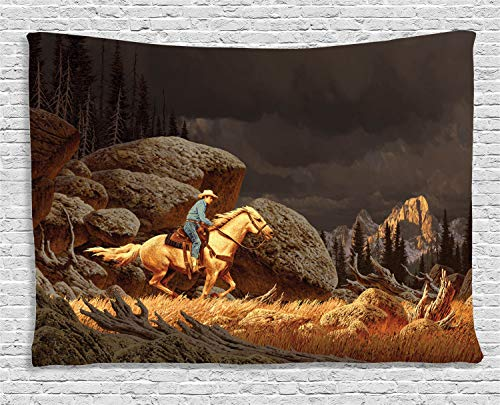 Ambesonne Western Tapestry, A Rock Mountain Landscape with a Cowboy Riding Horse North America Style, Wall Hanging for Bedroom Living Room Dorm, 80 W X 60 L Inches, Earth Yellow