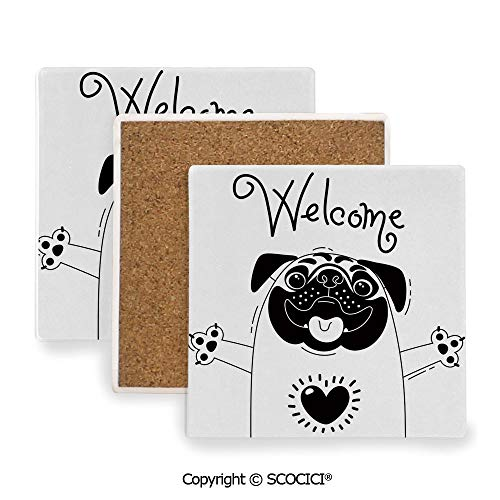 Ceramic Coasters with Cork Base, Prevent Furniture from Dirty and Scratched, Suitable for Kinds of Mugs and Cups,Pug,Cute Black and White Dog with Welcome Word over its,3.9