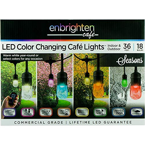 (Enbrighten Vintage Seasons LED Warm White and Color Changing Café String Lights (36ft.), Wireless, 18 Lifetime Bulbs, Premium, Weatherproof, Indoor/Outdoor, Shatterproof, Commercial Grade, 37790)