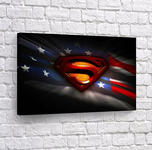 Superman Logo and American Flag Artwork Canvas Print Wall Art Digital Paint Super Hero Home Decor Decoration Stretched and Ready to Hang -%100 Hanmade in The USA - - Wall Superman Logo