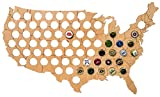 USA Beer Cap Map - Solid 0.25'' Thick - 69 Piece Wood Bottle Cap Holder with Wall Hanger - Quality & Guarantee