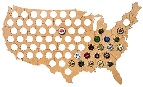 USA Beer Cap Map - Solid 0.25