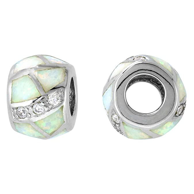 8ebba9301 Amazon.com: Sterling Silver Synthetic Blue Opal Bead Charm CZ stones Fits  Pandora and all Charm Bracelets, 3/8 inch: Opal Chamilia: Jewelry