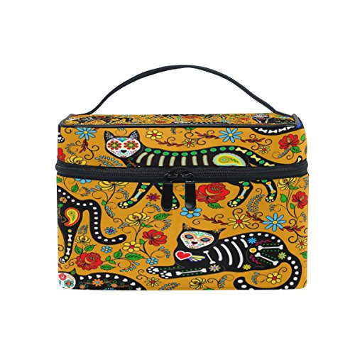 KUWT Sugar Skull Cat and Flowers Women Travel Makeup Bag Portable Cosmetic Train Case Toiletry Bag Beauty Organizer -