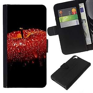 YiPhone /// Tirón de la caja Cartera de cuero con ranuras para tarjetas - manzana roja - HTC Desire 820