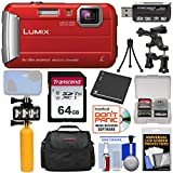 Panasonic Lumix DMC-TS30 Tough Shock & Waterproof Digital Camera (Red) with 64GB Card