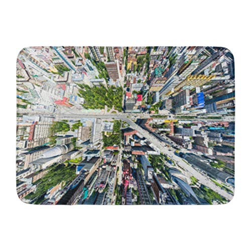 """Emvency Bath Mat Aerial City View with Crossroads Roads Houses Buildings Parks and Parking Lots Copter Drone Helicopter Bathroom Decor Rug 16"""" x 24"""""""