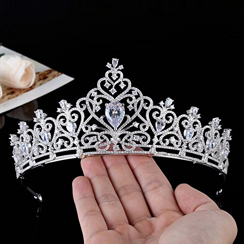 Quantity 1x Custom_European- style luxury _high-end_ Bridal Hair Ornaments _manual_micro-insert_full_zircon_ Wedding large Crown Tiara Party Wedding Headband Women Bridal Princess Birthday Girl Gift W by Generic