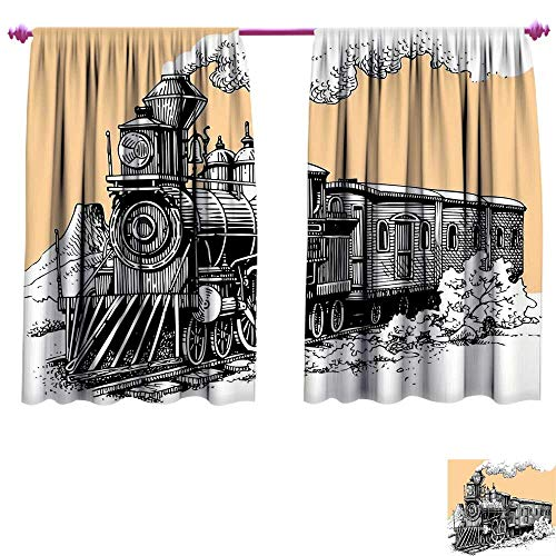 - Steam Engine Window Curtain Fabric Vintage Wooden Train Rail Wild West Wagon in Countryside Drawing Effect Artsy Drapes for Living Room W55 x L39 Peach White