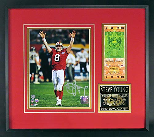 SF 49ers Steve Young Autographed SB XXIX 8x10 Photo Display (w/Replica Ticket) Framed (COA)