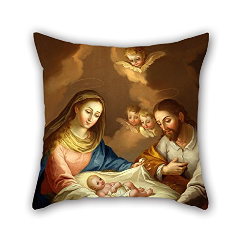 TonyLegner Cushion Covers of Oil Painting Jose Campeche Y Jordan - La Natividad for Gril Friend Festival Car Seat Bf Bar Festival 16 X 16 Inches / 40 by 40 cm(Twin Sides) for $<!--$9.99-->