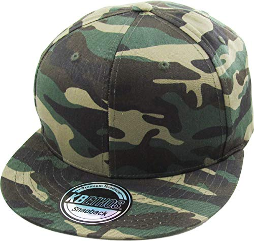 KBETHOS KNW-1467 CAM Cotton Snapback Solid Blank Cap Baseball Hat Flat - Cap Quality