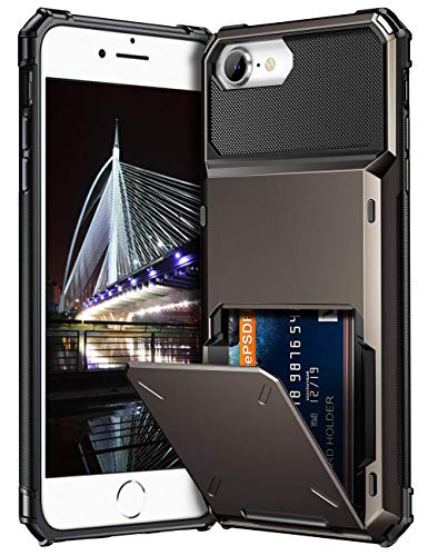 Vofolen Cover for iPhone 8 Case Wallet 4-Card Pocket Design Credit Card Holder ID Slot Dual Layer Scratch Resistant Hard Shell TPU Rubber Bumper Armor Hybrid Protective Case for iPhone 8 7 Gun Metal (Hard Shell Iphone 4 Case)