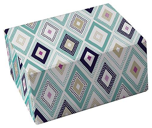 Snap-N-Store Storage Box 3-Piece Set, Small/Medium/Large, Blue Diamonds (SNS03325) (Flat Storage Box)