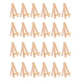 MEEDEN 5 Inch Mini Wood Display Easel Natural for Wedding Place Name Holder Menu Board, (24-Pack)