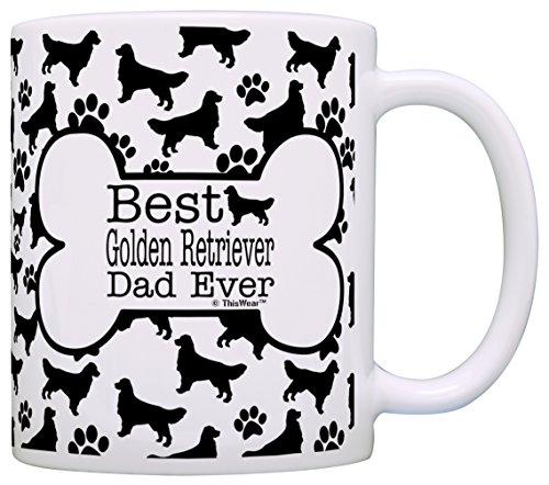 Dog Owner Gifts Best Golden Retriever Dad Ever Paw Pattern Gift Coffee Mug Tea Cup Bone Pattern