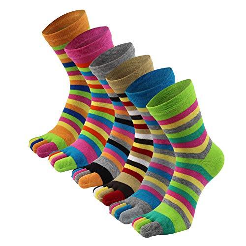 AIEOE Dames Gestreepte Tenen Sokken Katoenen Rennen Vijf Vingers Sokken Sneaker-Sokken Sport Teensokken 3/6 paar