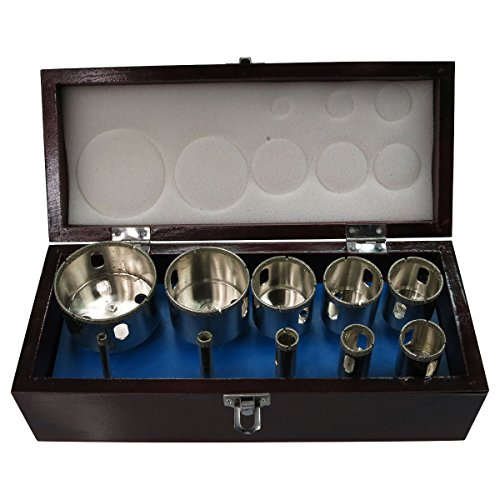 HTS 132J0 10Pc Diamond Hole Saw Set Wooden Box (1/4