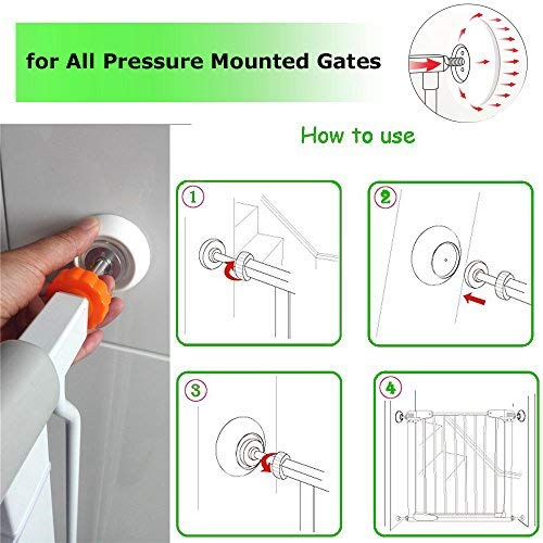 51NI5w4nZFL - 4 Pack Baby Gates Wall Cups, Safety Wall Bumpers Guard Fit For Bottom Of Gates, Doorway, Stairs, Baseboard, Work With Dog Pet Child Kid Pressure Mounted Gates