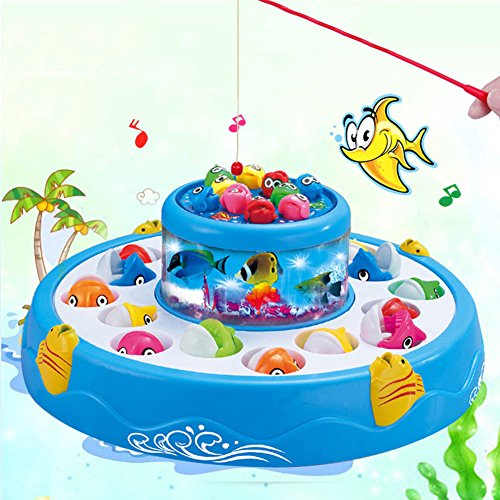 Fishing Toy Electric Rotating Magnetic Fish Gaming for Parent Kid Toys Trustful (Blue) by Unknown