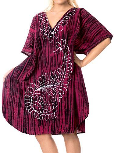 LA LEELA Cotton Batik Short Caftan Beach Dress Dark Pink_368 OSFM 14-18W [L-2X] (Batik Caftan Dress)