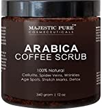Majestic Pure Arabica Coffee Scrub, Natural Body Scrub for Skin Care, Stretch Marks, Acne & Anti Cellulite Treatment, Reduce the Look of Spider Veins, Eczema, Age Spots & Varicose Veins - 12 Oz