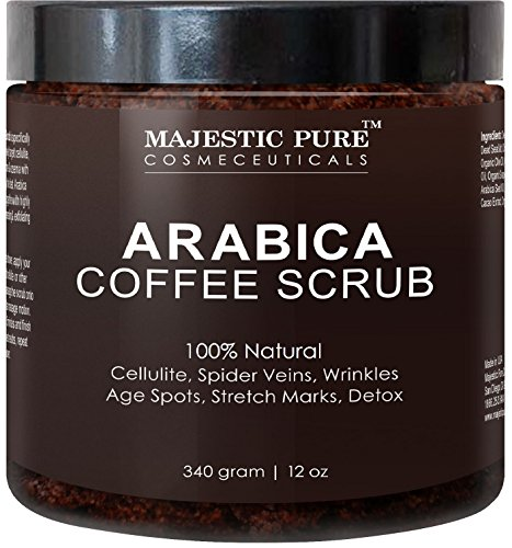 Spider Body (Majestic Pure Arabica Coffee Scrub, Natural Body Scrub for Skin Care, Stretch Marks, Acne & Anti Cellulite Treatment, Reduce the Look of Spider Veins, Eczema, Age Spots & Varicose Veins - 12 Oz)