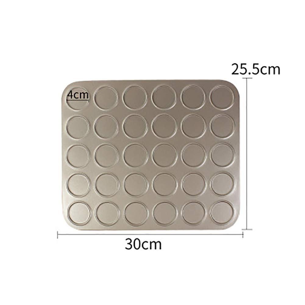 Macaron Baking, 30 Capacity Carbon Steel Non-Stick Cakes Making Mats Pie Mould Trays Bakeware Mold-Gold 30x25.5cm