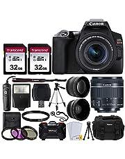 Canon EOS Rebel SL3 Digital SLR Camera (Black) + EF-S 18-55mm f/4-5.6 IS STM Lens + 58mm 2X Professional Telephoto & 58mm Wide Angle Lens + 64GB Memory Card + DC59 Case + Tripod + Slave Flash + Remote