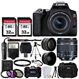 Canon EOS Rebel SL3 Digital SLR Camera (Black) + EF-S 18-55mm f/4-5.6 IS STM Lens + 58mm 2X Professional Telephoto & 58mm Wide Angle Lens + 64GB Memory Card + DC59 Case + Tripod + Slave Flash + Remote