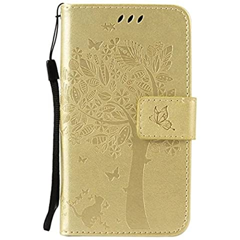 G386F Case, Galaxy Avant G386 Case, Love Sound [Cat Tree Butterfly/Gold] [Wrist Strap] Luxury PU Leather Wallet Case Flip Cover Built-in Card Slots Stand for Samsung Galaxy Core LTE 4G (Samsung Galaxy Core Lte Case G386)