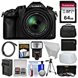 Panasonic Lumix DMC-FZ1000 4K QFHD Wi-Fi Digital Camera with 64GB Card + Case + Flash + Battery/Charger + Tripod + Filters Kit