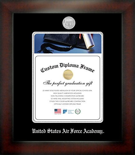 Celebration Frames United States Air Force Academy 11 x 8½ Mahogany Finish Infinity Diploma Frame by