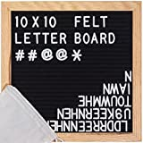 ReadyWerks Black Felt Letter Board 10x10 inches - Changeable Letter Boards Include 340 White Plastic Letters & Oak Frame