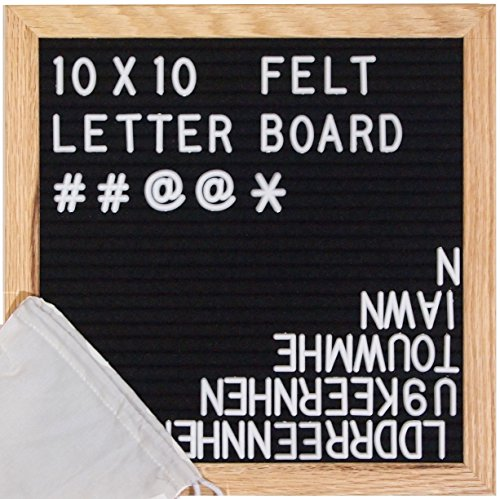 ReadyWerks Black Felt Letter Board 10x10 inches - Changeable Letter Boards Include 340 White Plastic Letters & Oak Frame by ReadyWerks