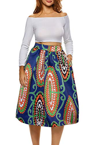 Afibi African Print Skirts for Women Boho Plus Size Flare Pleated Skirts (XXX-Large, Picture 6)