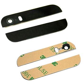 MMOBIEL Tapa/Carcasa Trasera para iPhone 5S / SE (Negro) -la Parte Superior e Inferior de Cristal Negro con Lente de cámara y Flash pre Instalado y ...