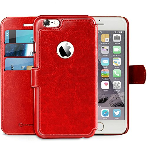 Lockwood iPhone 6/6s PLUS Folio Wallet Case | Vintage Red | Travel Wallet With Card Holder | Ultra Slim & Lightweight Design | Classic Cases for Modern Devices | (5.5' Screen) | PU Leather